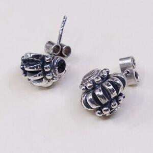 Vintage-Sterling-Silver-Handmade-Earrings-925-Silver-Ribbed-Studs-W-Obsidian