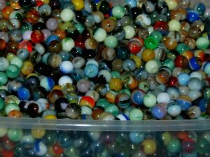 Lot-of-40-Jabo-Classic-Peewee-Marbles-Assorted-L-K-Nice-Swirls-Made-In-USA