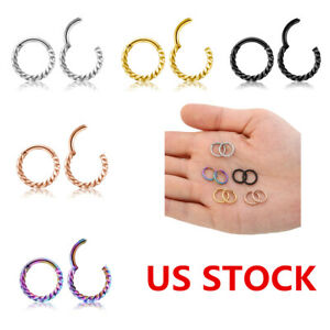 Hinged-Septum-Clicker-Nose-Ring-Ear-Lip-Surgical-Steel-Cartilage-Daith-16G-US