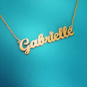 Gabrielle Style Solid 14k gold name necklace 9k 10k 14 carat solid
