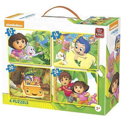 4 IN 1 CHILDRENS CARTOON DORA DIEGO UMIZOOMI BUBBLE GUPPIES JIGSAW PUZZLE 05238