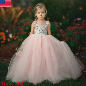 Flower-Girl-Kids-Lace-Tutu-Dress-Princess-Party-Wedding-Bridesmaid-Tulle-Gown