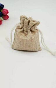 Lot de 5 sachets lin Toile de jute 7X9 cm idéal thé graine cadeau décoration