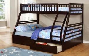 ***BLOWOUT SALE**** TWIN/DOUBLE DETACHABLE SOLID WOOD BUNK BED WITH 2 DRAWERS - (ESPRESSO)**LOWEST PRICES Regina Regina Area Preview