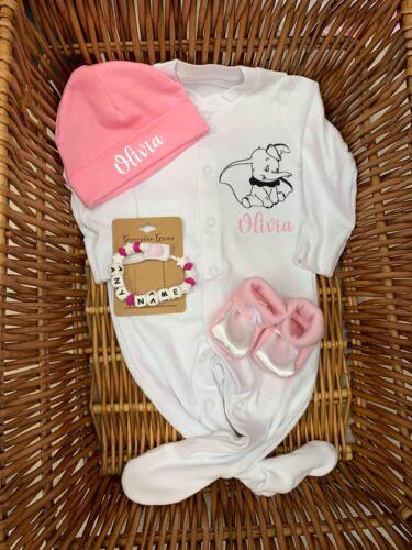 Hat Personalised Baby Dumbo Sleepsuit//Babygrow Silicone Dummy Clip Booties