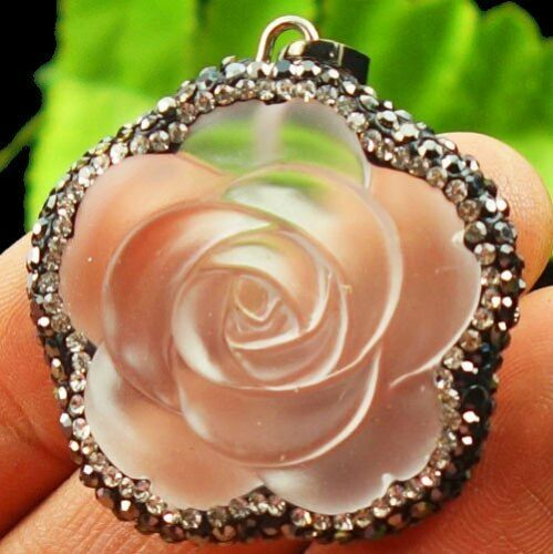 Pave Crystal Wrapped Matte White Crystal Flower Pendant Bead 35x11mm X35435