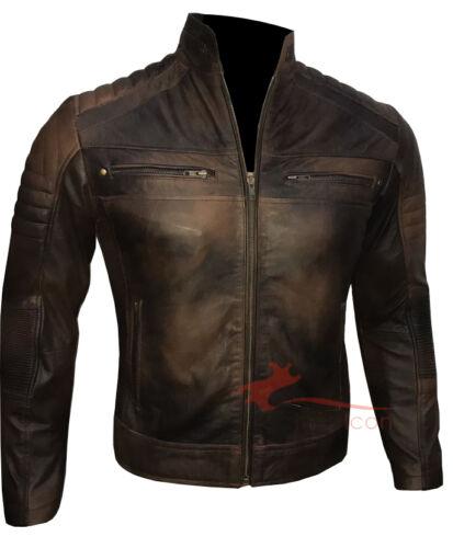 Men/'s Biker vintage motorcycle distressed brown cafe racer leather jacket