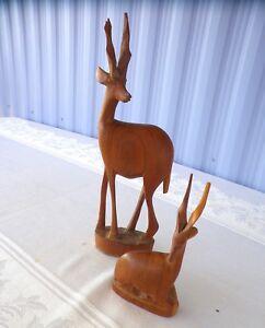 Hand-Carved-Wood-Antelope-Gazelles-Deer-Made-in-Kenya-Statue-Two-Figurines
