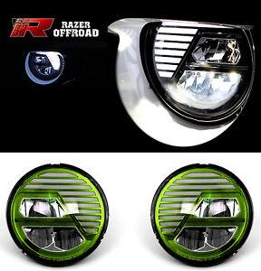 Rock-Crawler-Green-LED-Headlight-DRL-Hi-Lo-Beam-Cree-fit-07-17-Jeep-JK-Wrangler