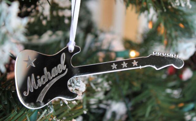 10e06835269 Personalised Engraved ELECTRIC GUITAR Christmas Tree Decoration & Gift Bag