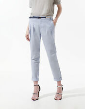 NEW ZARA LAVENDER BABY BLUE PLEATED CHINO TURN UP TROUSERS BELT S SMALL 8 4 36