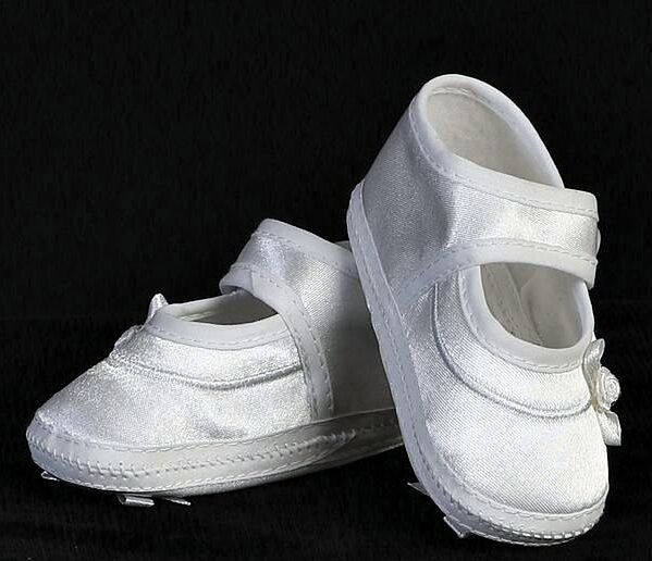 c760c646eafc4 Girl White Christening Baptism Shoes Mary Jane Satin Bootie Bow on Sole Sz  0-18m 00 Fits Newborn