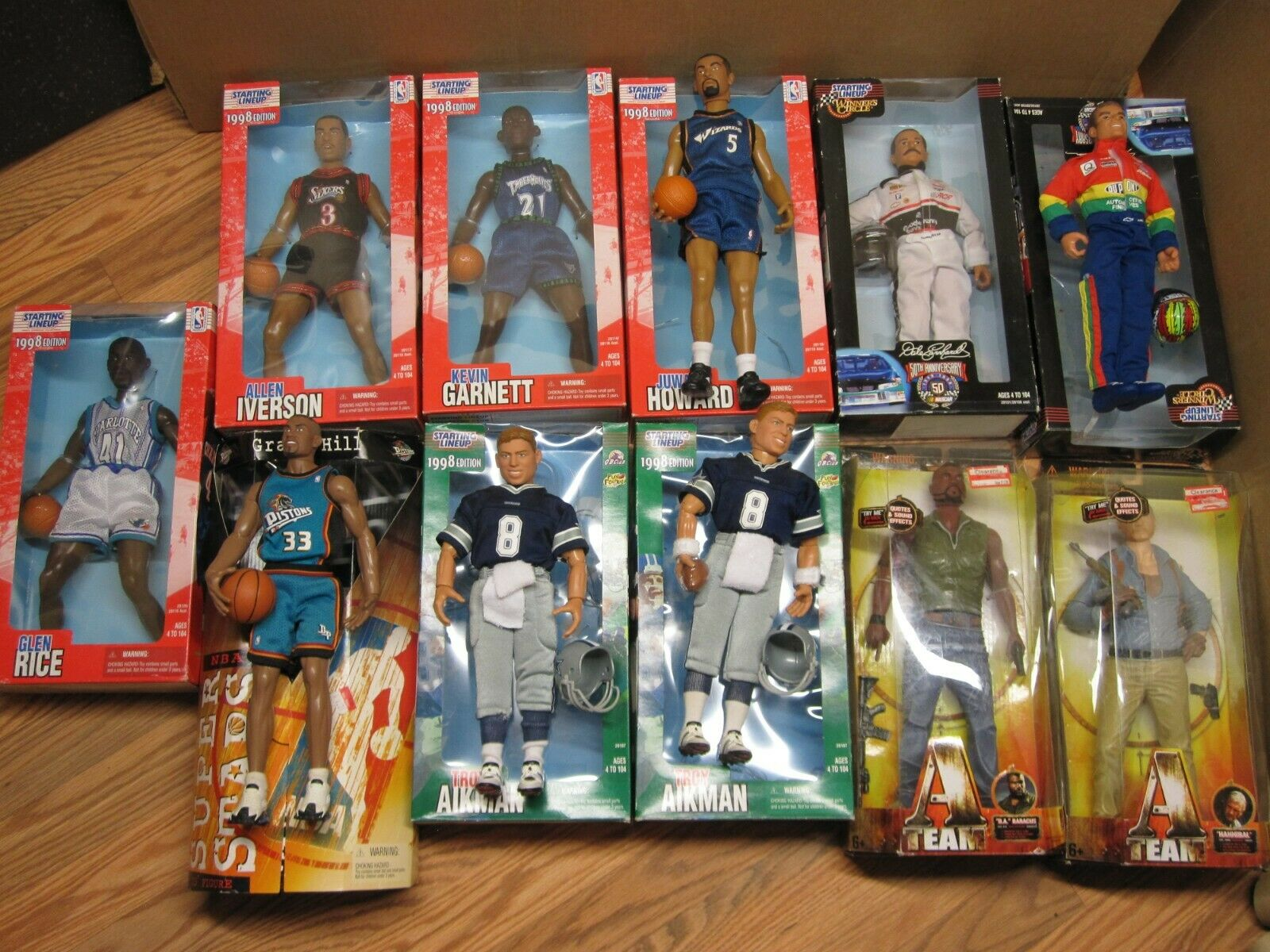 LOT of 11 VINTAGE STARTING LINEUP & A-TEAM 12  TALL FIGURES KENNER, MATTEL