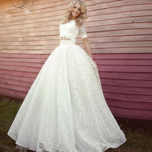 zweiteilige Spitze Brautkleid kurze Ärmel Hochzeitskleider 32 34 36 38 40 42+++