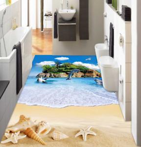 3D Beach Dolphin Island 73 Floor WallPaper Murals Wall Print Decal AJ WALL CA