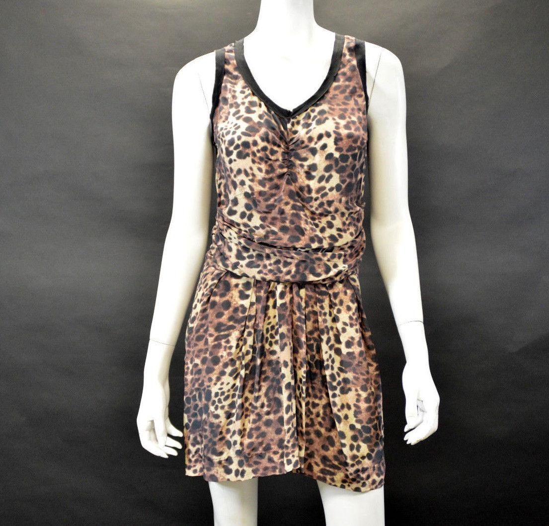 Etoile Isabel Marant Animal Animal Animal Leopard Print Jafney Brown Silk Tank Dress Size 3 a2228b