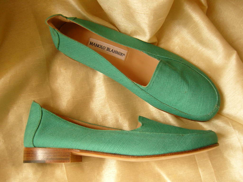 VINTAGE MANOLO BLAHNIK FLATS GREEN UK 37.5 37.5 37.5 BN AUTHENTIC PRISTINE PERFECT a1c6f6
