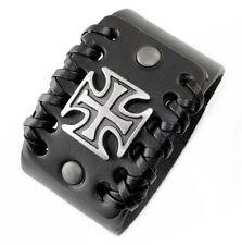 A62b Leder Armband Cuff Manschette Biker Malteser Kreuz Herren Leather Bracelet