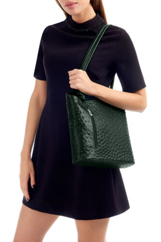 Handbags Ladies Italian Leather Womens Shoulder Bag Ostrich Effect Backpack