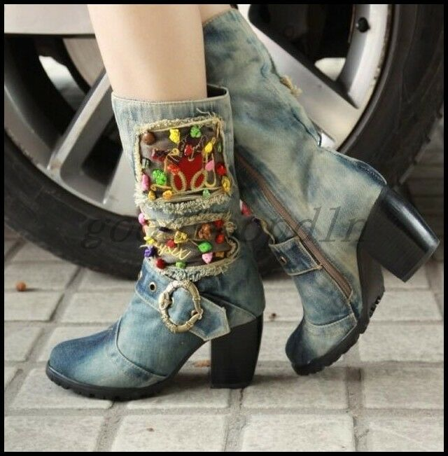 Retro Ladies Cowboy Western Washed Denim Mid Calf Boots Block Heel Jean shoes UK