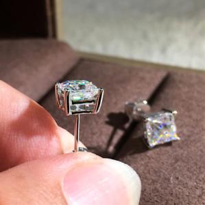 4Ct Princess-Cut D//VVS1 Diamond Solitaire Stud Earrings 14K White Gold Finish