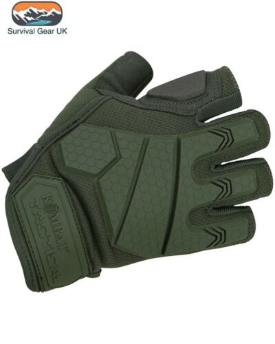 Green Alpha Tactical Military Fingerless Gloves Micro Fibre Palm Rubber Knuckle