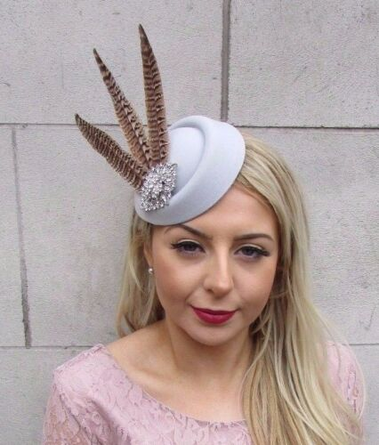Grey Silver Brown Pheasant Feather Pillbox Hat Hair Clip Fascinator Races 4547