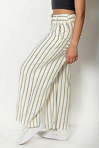 New Women Red,Blue,Black /& White Stripe Stretch Crop Wide Leg Trousers Size 8-16