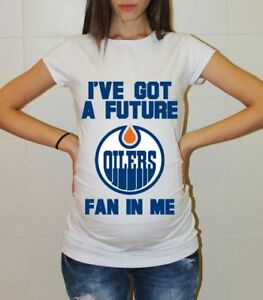 fb5cc067ce10e Image is loading Edmonton-Oilers-Baby-Shower-Maternity-Shirt -Hockey-Pregnancy-