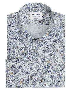T-M-Lewin-Mens-Premium-Liberty-Fabric-Mina-Print-Blue-and-Mustard-Single-Cuff
