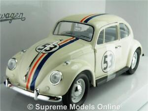 VOLKSWAGEN BEETLE MODEL CAR HERBIE 1:24 SCALE ROAD SIGNATURE CREAM NO 53 1967 K8