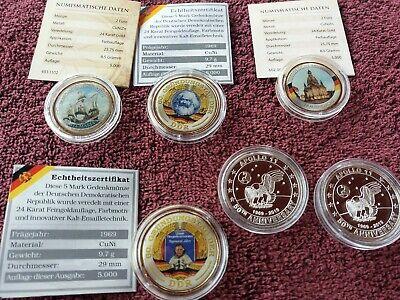 GroßZüGig 6 Münzen Medaillen Z.t. 24 Karat Vergoldet 2 Euro 5 Mark Ddr Kaltmedaille Zertif NüTzlich FüR äTherisches Medulla