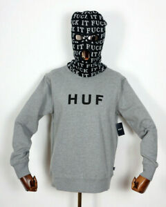 Huf-Worldwide-Sweatshirt-Sweat-Crewneck-Hoodie-Original-Logo-Crew-Grey-Heather-M