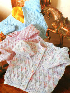 Lattice-Pattern-Baby-Sweater-and-DK-or-4-Ply-16-034-22-034-Knitting-Pattern
