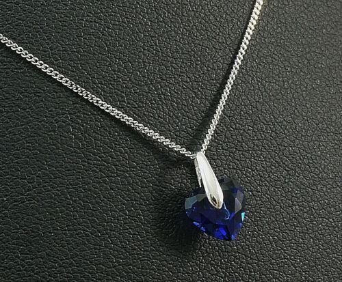 585 Weissgold Herz Anhaenger mit Kette blauer Saphir in Herzform