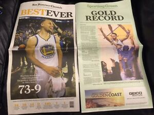 SF Chronicle Newspaper Golden State Warriors Best Ever 73 Wins Curry 4/14/2016!
