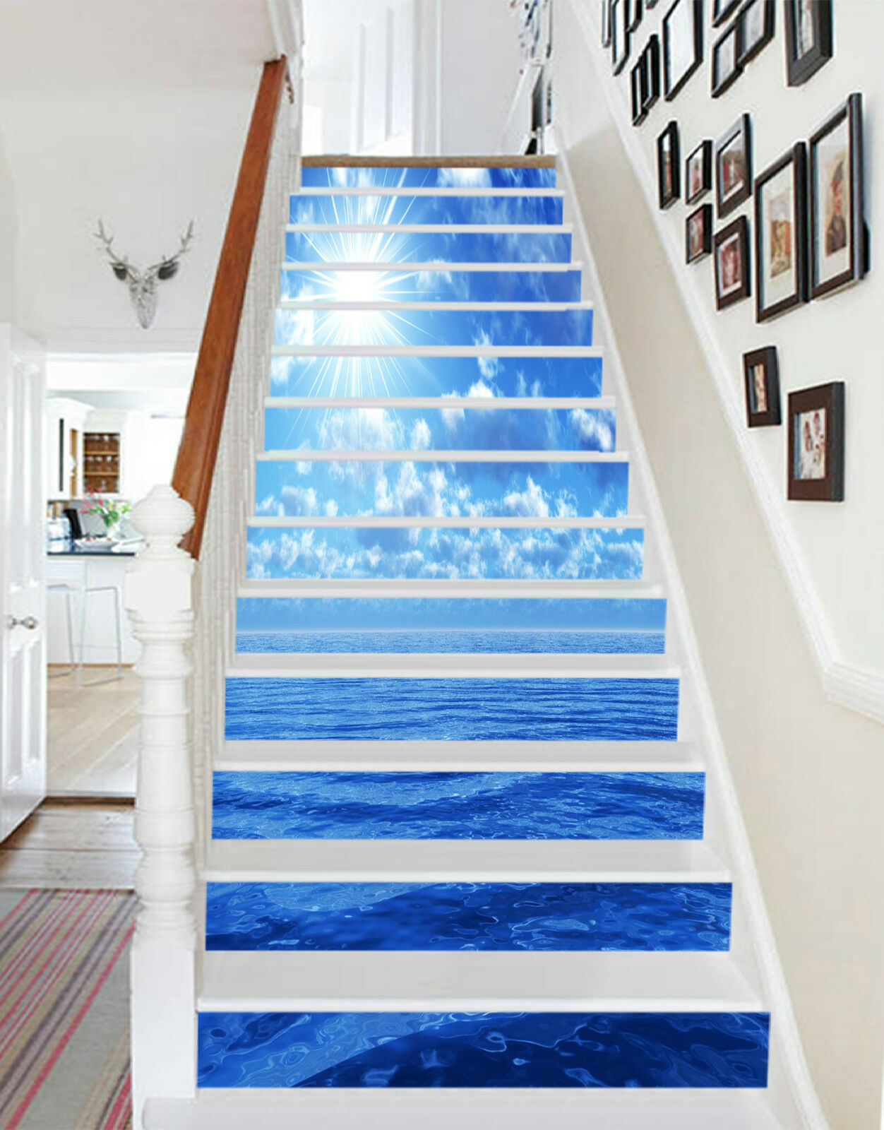 3D bluees Meer 227 Stair Risers Dekoration Fototapete Vinyl Aufkleber Tapete DE