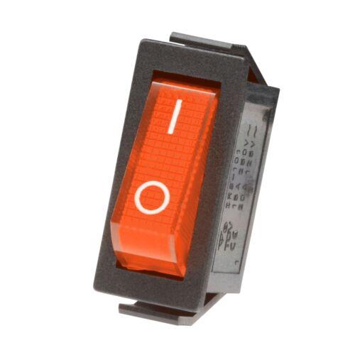Wippschalter 250V 15A beleuchtet 31x14mm EIN-AUS schaltend 230V Mini-Schalter