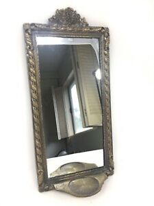 Vintage-Antique-Gold-Brass-Wall-Hanging-Mirror-with-Extended-Tray-Ledge-Holder