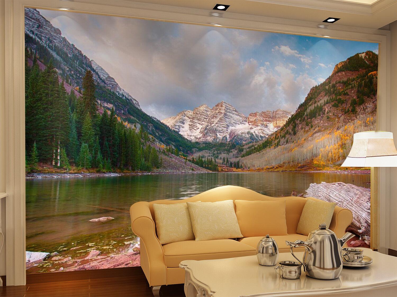 3D 3D 3D Mountain Lake 7456 Wallpaper Mural Wall Print Wall Wallpaper Murals US Summer d136fb