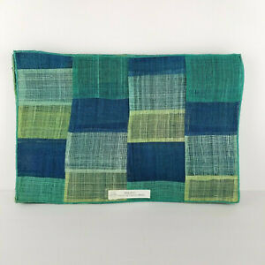 Mid-Century-Placemat-Blue-Abaca-Woven-Straw-Cubes-Abstract-NOS-Vintage
