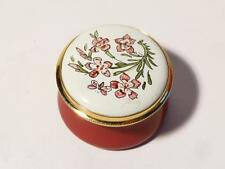 CARNATION January Month Flower Staffordshire Enamels Pill Ring Box Boxed #19