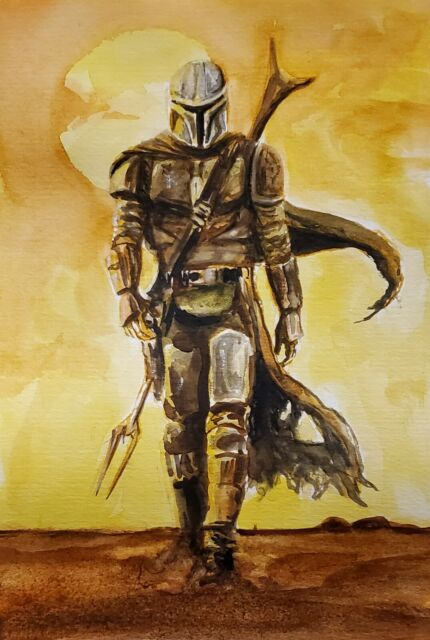 Movie Art to Support Swan Dive -The Mandalorian. Watercolour