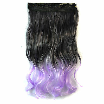 """18"""" Synthetic Curly Hair Piece Cosplay Ombre Dip Dye Clip In Hair Extensions New"""