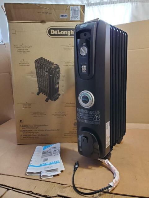 Black DeLonghi EW7707CB Safe Heat 1500W ComforTemp Portable Oil-Filled Radiator
