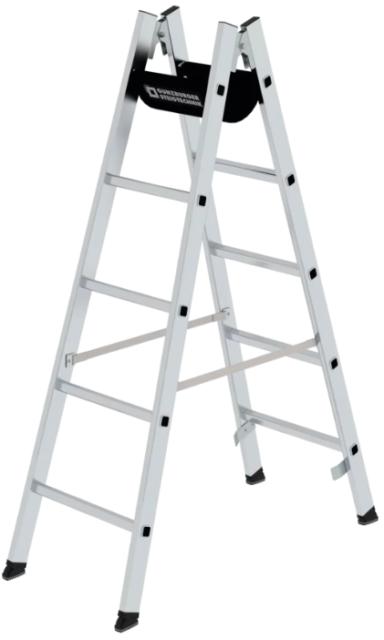 Günzburger Aluminium Stehleiter 2 x 5 Sprossen Bockleister DoppelSprossen-Leiter