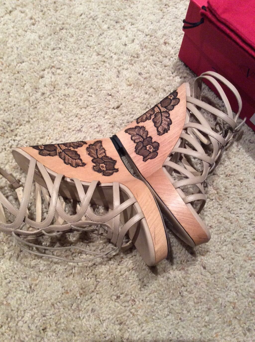 Valentino wedges with lace details, size 40, retail for 1095