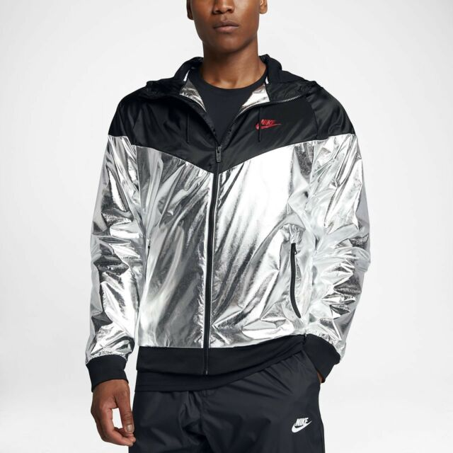 Nike Sportswear Windrunner Jacket Metallic Silver Hoodie Zip 924515-095 Men L