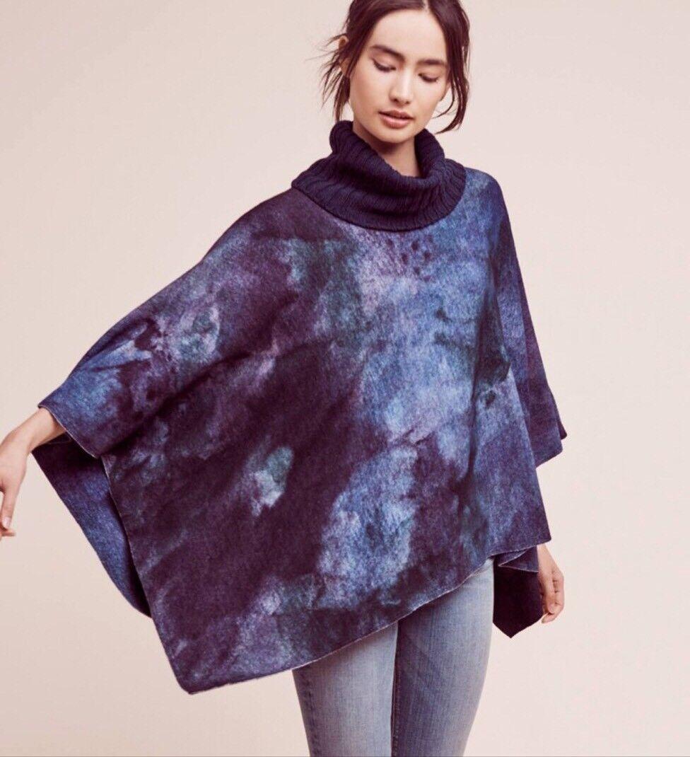 NEW  298 Anthropologie Aigua Shiloh Tie-Dye Wool Sweater Cape Size Small