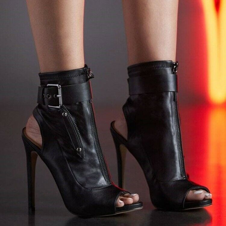 Women Slim High Heel Peep Toe Slingback Punk Casual Ankle Boots Buckle Sandals